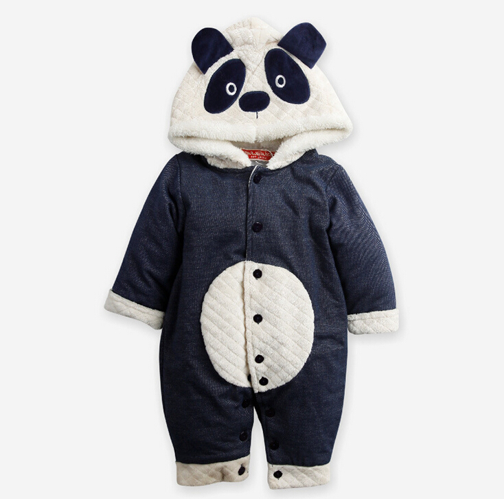 New 2017 autumn winter wanrm rompers newborns baby boy girls  clothes bebes cartoon panda cotton jumpsuits infant overalls<br><br>Aliexpress