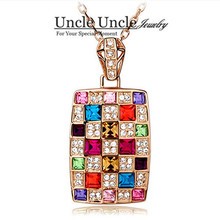 Amazing!! Rose Gold Plated Italy Design Multicolor Austrian Crystal Luxury Queen Design Lady Pendant Necklace Wholesale