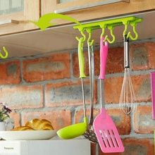 Free shipping 1pcs Kitchen Wall Door Self-Adhesive Bathroom Sticky Hanger Six Hook Hanger Cabinets Adhesive Hook GYH