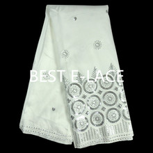 White+Black Sequin African Lace George High Quality Nigerian Lace Fabrics New Silk George Lace Fabric 5 Yards/Lot