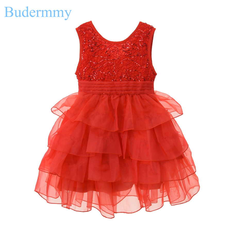 Baby Girls Dress Red Sequined Bow Princess Dress 2017 New Summer Brand Dress for Girls 5 6 7 8 10 Years Children Clothing Dress<br>
