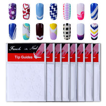 HNM 1pack French Nail Tips Sticker Nail Art DIY Stickers UV Gel Nail Polish Sticker Manicure Nail Forms Fringe Guides