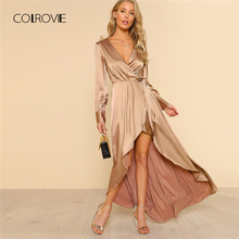 Buy COLROVIE Long Sleeve Asymmetrical Wrap Satin Spring Women Dress Tie Maxi Long Dress 2018 Deep V Neck Sexy Summer Party Dress for $25.99 in AliExpress store
