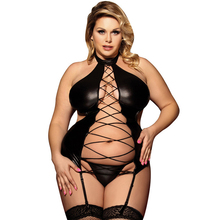 Buy Black Baby Doll Sexy Lingerie Women Pu Leather Plus Size Lace-up Backless Erotic Lingerie Porno Costumes Sexy Dress Garter