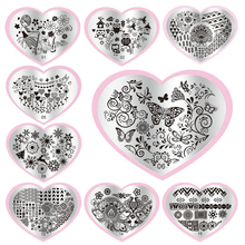 2016 Fashion1pcs Heart Shape  DIY Polish Beauty Charm Nail Stamp Stamping Plates 3d Nail Art Templates Stencils Manicure Tools