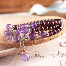 WinWinWin Thai Silver Unique 100% Natural Granate Bracelet For Trendy Women Cool Wine Red Bead Bracelets With Amethystine