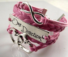 Wholesale 2 pcs Pink One Direction Double Heart infinity charms bracelets Wristbands Fashion Jewelry Free shipping(China)