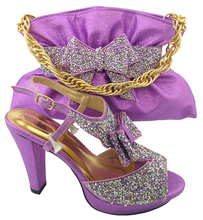 Lilac Color Matching Shoes and Bag Set Decorated with Rhinestone Nigerian Shoes and Bag Set for Women Italy Shoes and Bag Sets