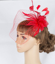 Perfct color sinamay fascinator headwear feather colorful mesh wedding veils show hair accessories millinery cocktail hat MYQ070