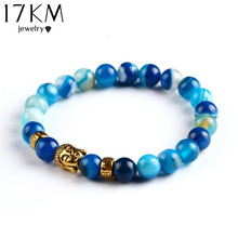 17KM Lava Stone Onyx Bead Buddha Bracelet Buddha Synthetic Stone Black Yoga bracelets Men Women Mujer Pulseras Fashion Jewelry