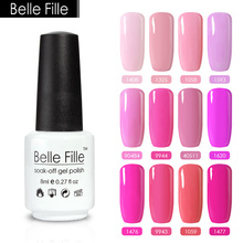 Belle Fille 8ml Pink Series Color Gel Nail Polish UV LED Nail Gel Long Lasting Colorful Varnish Professional fingernail Polish(China)