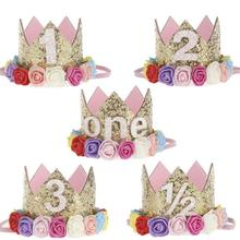 Mini Birthday Crown Headband Gold Glitter Birthday party Crown with flowers For DIY Hair hat Accessories 1pc 3
