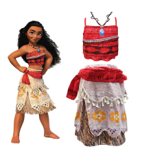 2018 Summer Moana Dress girls Moana Princess Dresses Kids Party Cosplay Costumes Wig Children Clothing Vaiana clothes