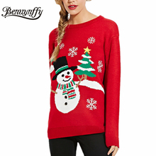 Benuynffy Christmas Sweater for Women Autumn Winter Fashion Casual Pullovers Knitwear Womens Fall Red Sweaters Lady Jumper 181
