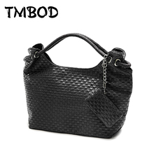 New 2017 Korean Style Designer Knitting Women PU Leather Handbags Vintage Woven Shoulder Bag High Quality for Female WZS008(China)