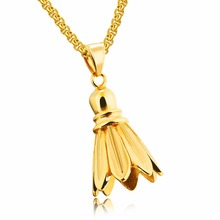 DropShipping Sporty Small Badminton Pedant Necklace For Men Male 3Color Stainless Steel Box Chain Champion Shuttlecock 1204(China)