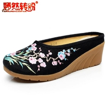 Chinese Floral Embroidered Slippers Woman Canvas Linen Slides Mules Black Wedges Flip Flops Ethnic Ladies Casual Womens Shoes