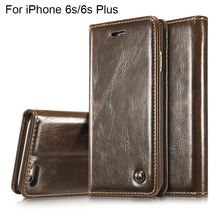 Luxury For Flip Cover iPhone 6 plus Case Wallet Card Holder Pouch For iPhone 6s Plus Case Leather Phone Case Vintage Real Skin