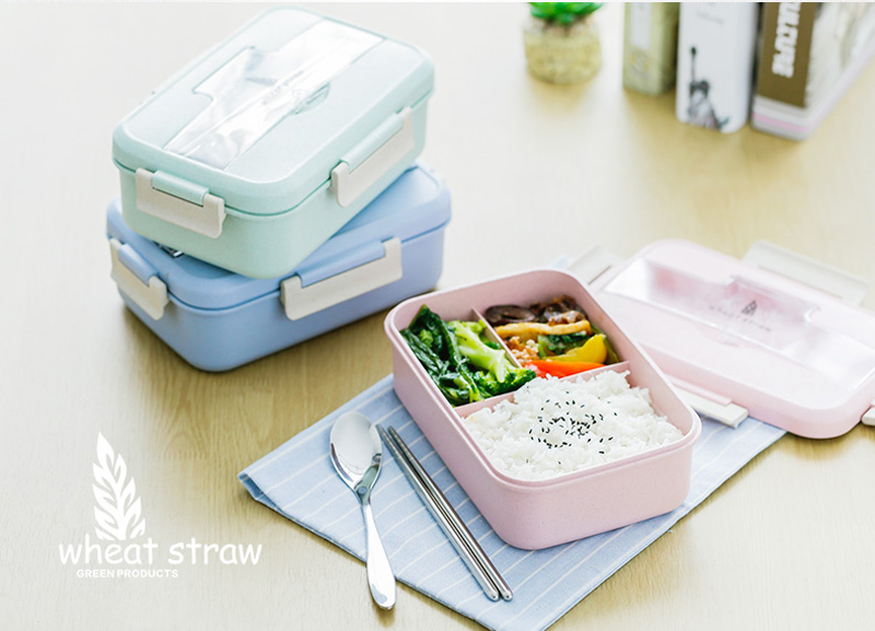 Japanese Style Plastic Wheat Straw Bento Lunchbox Portable Kids School Student Lunch Boxs Modern Picnic Camping Food Container21