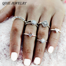 QIHE JEWELRY 6pcs/set Boho Chic Gypsy Arrow Triangle Imitation Moonstone Ring Stacking Ring Set Gift Personalized