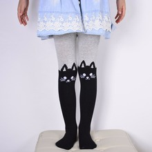 Girls baby Cotton Pantyhose cartoon kitty cat warm stockings fake knee high patchwork tights for children 1-12year spring autumn