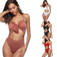 Buy Plus Size One-Piece Body Suits Womens High Waist Summer Solid Swimwear One Piece Bandage Swimsuit Bikini Bra Padded for $9.41 in AliExpress store