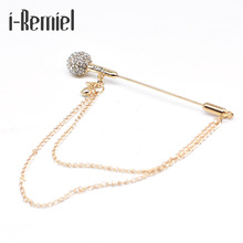 2017 Brooch Plated Trendy Time-limited Special Offer Pin Broche High-grade Microphone Tassel Brooch Crystal Men's Suit Brooches(China)