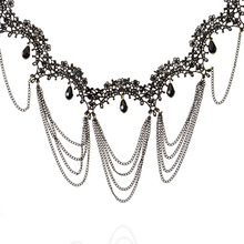 Women's Black Lace Dangle Link Chain Bead Necklace perfumes feminino collares populares feminino Jewelry