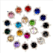 10pcs Double Holes Bracelet Connector Clasps, Glass Crystal Rhinestone Connector for DIY Charms Bracelet Necklace Jewelry Making(China)