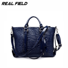 Real Field Women Tote Messenger Handbags Fashion Crocodile Pattern Big Shoulder Bag Ladies Slit Leather Briefcase Sac Femme 208