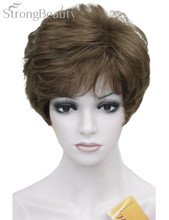 Strong Beauty Shag Style Synthetic Full Wigs Short Wavy Layered Dark Auburn Custom Wig For African American