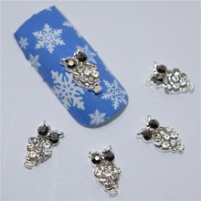 10pcs 3d nail jewelry decoration nails art glitter rhinestone for manicure Silver Owl design nail accessories tools #295(China)