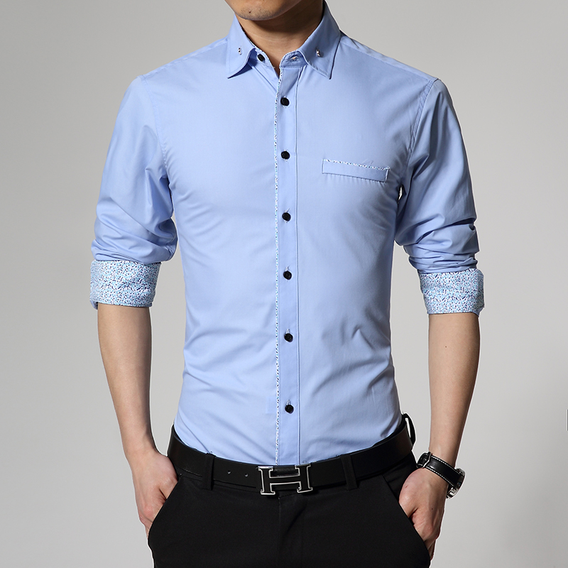Brand 2016 Dress Shirts Mens solid color Shirt Sli...