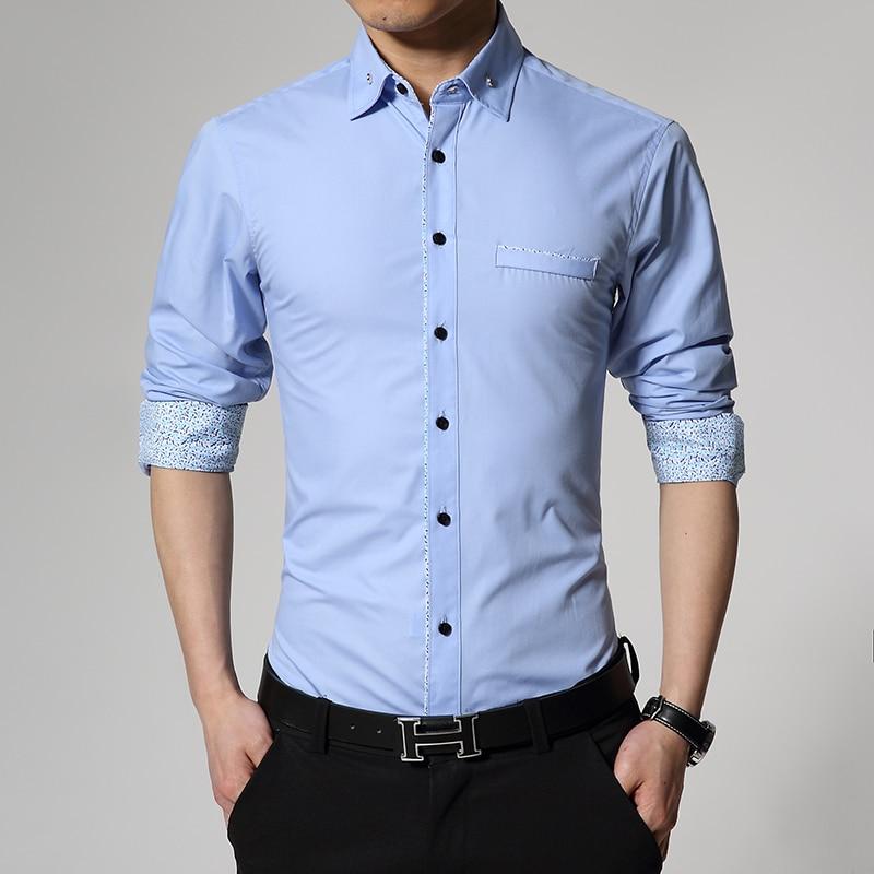 Brand 2016 Dress Shirts Mens solid color Shirt Sli...