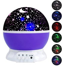 Star Sky Night Lamp,Baby Lights 360 Degree 4 Bulbs Romantic Room Rotating Cosmos Starlight Projector Desk Lighting Projector,US(China)