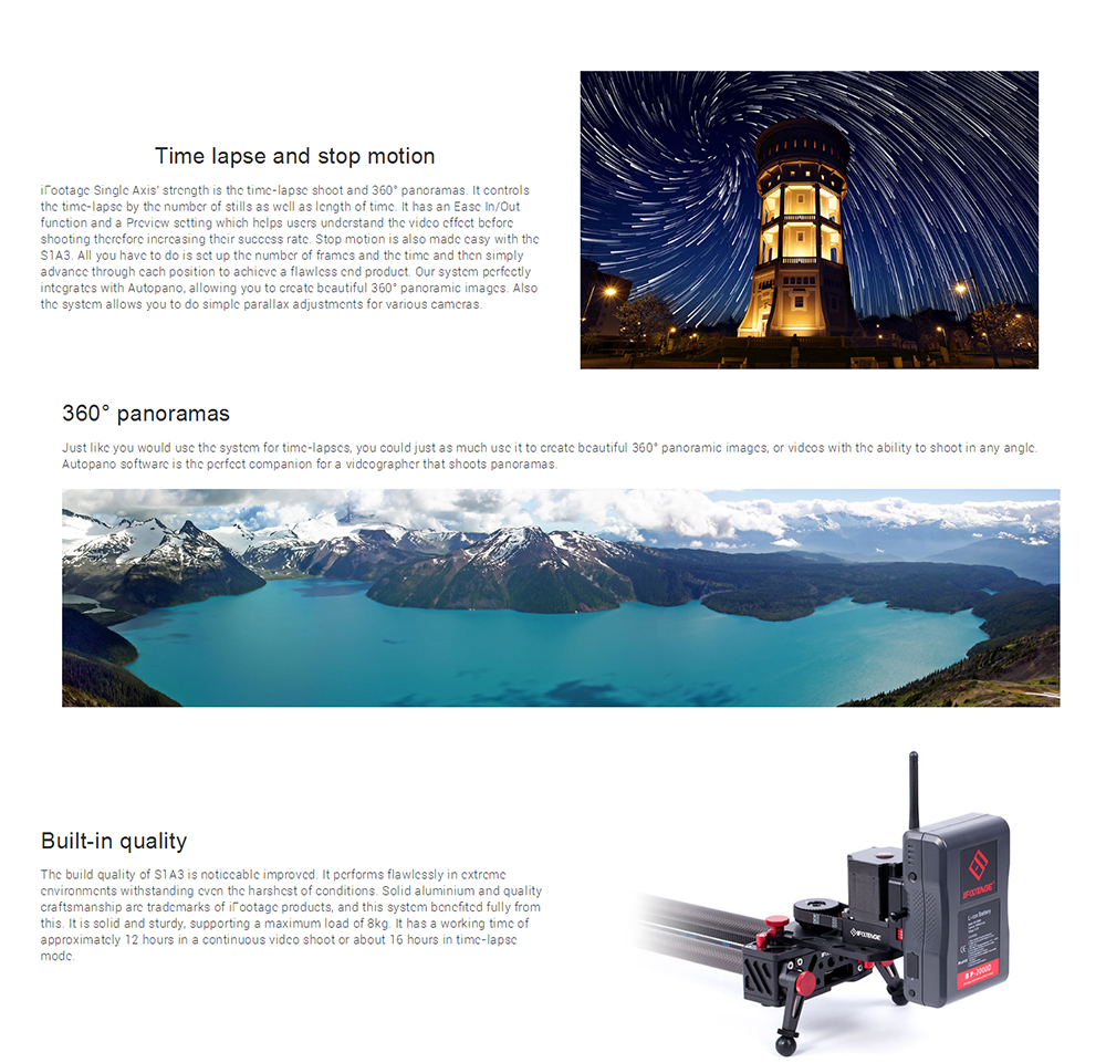 iFootage wireless motorized controller timelapse Single Axis System S1A1 for Shark Slider S1 camera video dolly track slider 001