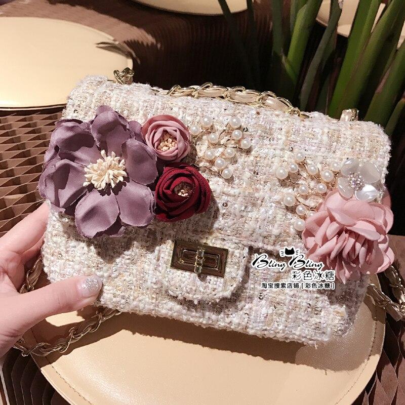 PJ.SDZM New Arrival Women Diamond Pearl Handbag Sweet Flower Shoulder Bag Cross-Body Gold Chain Dinner Bags<br>