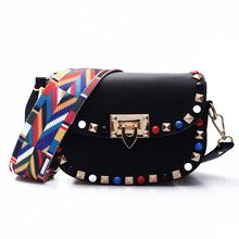 Free Shipping New Classic PU Black Brown Green Beige with Colors Rivets Wide Belt Women Cheap Messange Bags Crossbody Bag SS057