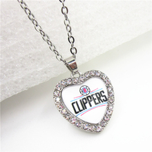 6pcs Crystal Heart Basketball Sports Clippers Team Necklace with 50cm Chains Necklace Pendant Jewelry