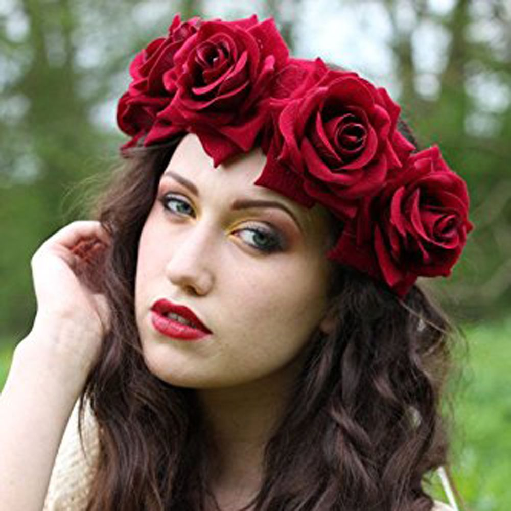 Rose Flower Headband Floral Crown Mexican Wreath Women Accessories