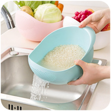 rice-rinsing machine rice washing sieve plastic rice rinsing basket kitchen use water filter vegetable washing basket 19*18cm(China)