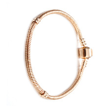 Stainless Steel Snake Chain letter LOGO Clip Bracelet Fit European Charm Bead Authentic DIY Jewelry lady Gift
