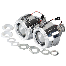 "2.5"" inch Bixenon Hid xenon Projector Lens Headlight 6000k Red White Blue Angel Eye + Shroud + H4 H7 Adapters"