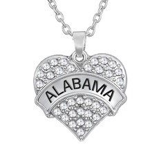 my Shape pave white crystal stone engrave Alabama jewelry heart pendant link chain rhodium plated necklace