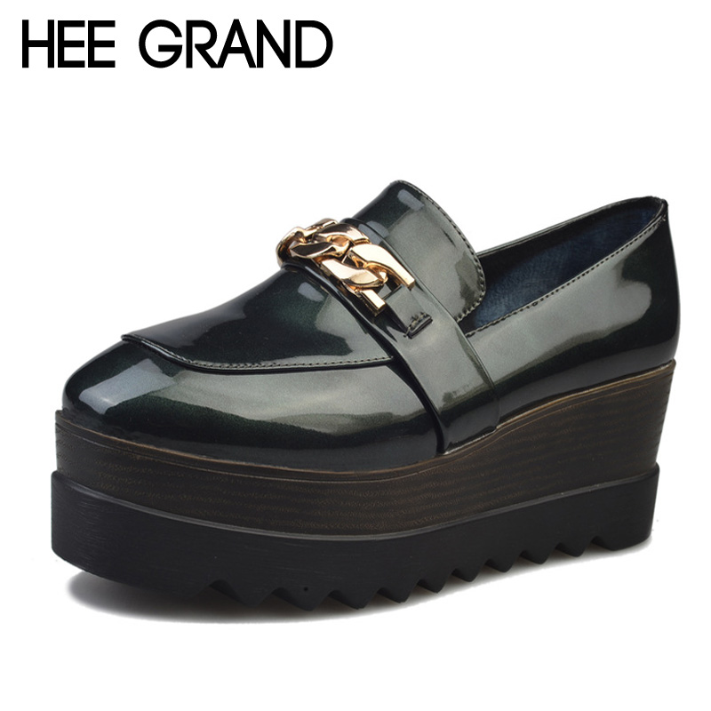 HEE GRAND Spring Creepers 2017 New Metal Loafers Platform Oxfords Shoes Woman Slip On Flats Casual Women Brogue Shoes XWD5450<br><br>Aliexpress