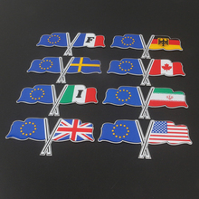 EU European Union Germany Italy USA UK France Iran Canada Sweden Double Flag Emblem Sticker Car Styling Automobile Decoration(China)