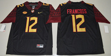 New Arrival High Quality Nike 2016 Florida State Seminoles Deondre Francois 12 College  T-shirt Jersey - Black Size S,M,L,XL,2