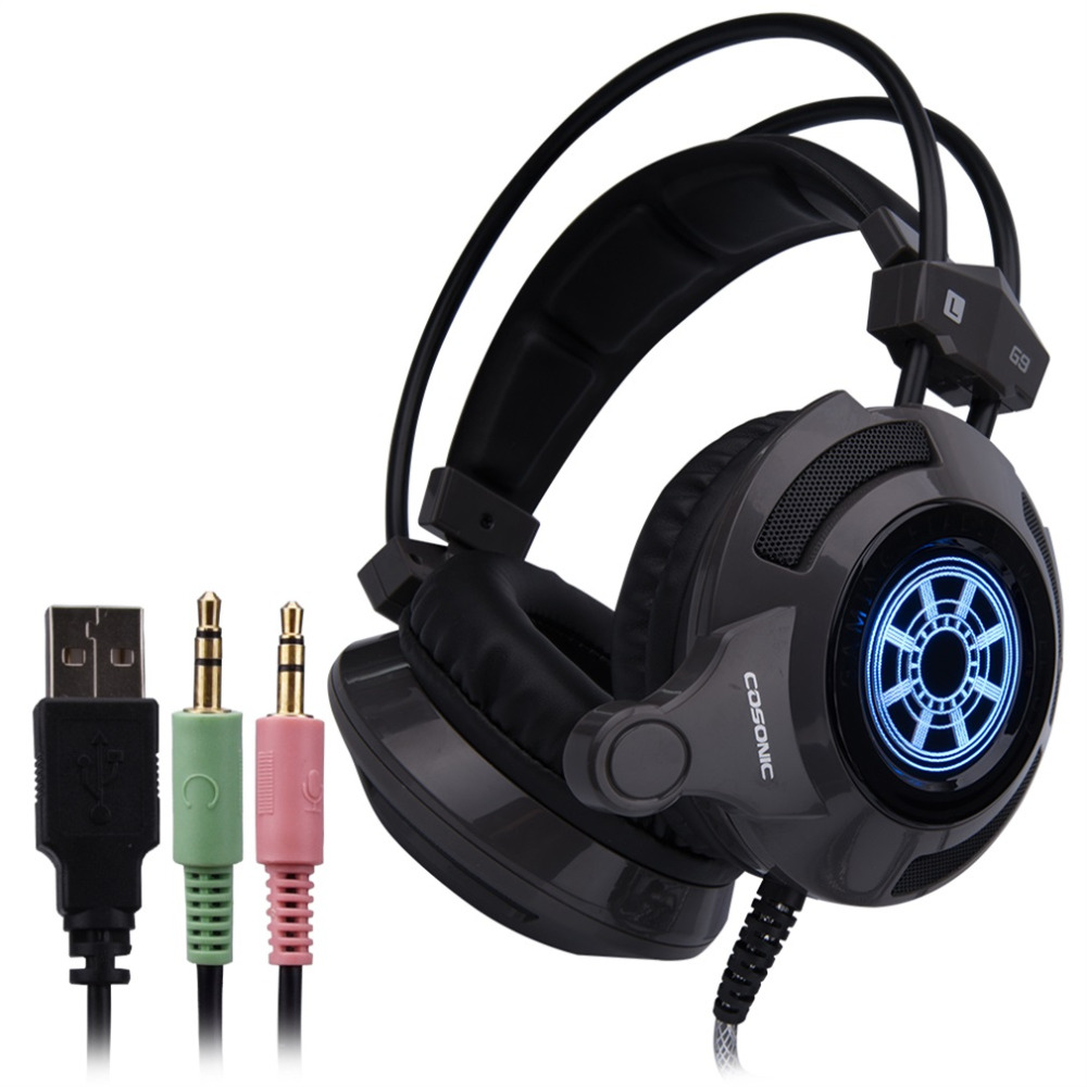 Cosonic G9 Esport Gaming Headset Stereo Music Gaming Headphone Headset Over-ear 3.5mm with Mic LED Light for Laptop PC Computer<br><br>Aliexpress
