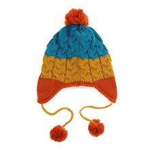 XSG Fashion 1Pcs Infant Knitted Cap Baby Girls Boys Winter Warm Colorful Cartoon Beer Hat Hooded Scarf Earflap(China)
