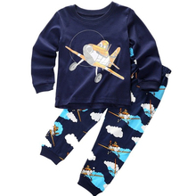2017 Children Pajamas Autumn Winter Clothing Set Boys Cartoon Sleepwear Suit Set Kids Long-sleeved+Pants 2-piece Baby Clothes(China)